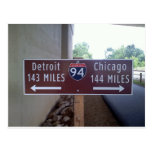 Punto intermedio, Detroit Chicago Tarjeta Postal