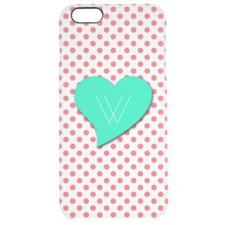 Punto-Monograma rosado coralino de la polca Funda Clear Para iPhone 6 Plus