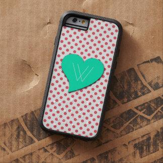 Punto-Monograma rosado coralino de la polca Funda Tough Xtreme iPhone 6