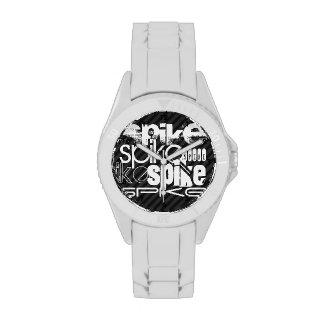 Punto; Rayas negras y gris oscuro Reloj De Mano