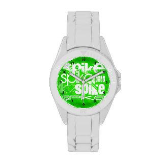 Punto; Rayas verdes de neón Reloj De Mano