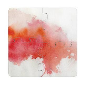 Punto rojo pintado a mano abstracto de la acuarel