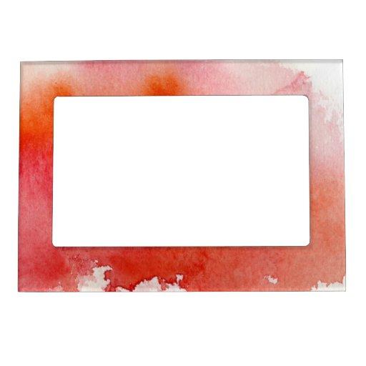 Punto rojo, pintado a mano abstracto de la acuarel marcos magneticos para fotos