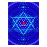 Punto rojo y las estrellas judías azuladas tarjeton