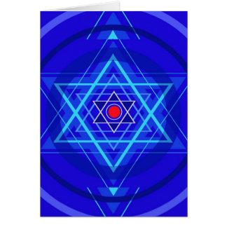 Punto rojo y las estrellas judías azuladas tarjeta de felicitación