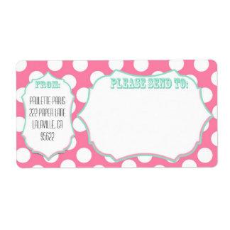 Punto rosado de las etiquetas de correo grandes etiqueta de envío