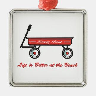 Punto ventoso poco ornamento rojo del carro adorno de navidad