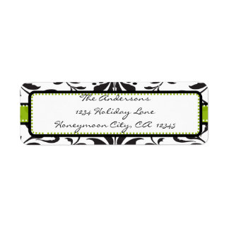 Punto verde y negro Label#2 del remolino del Etiqueta De Remitente