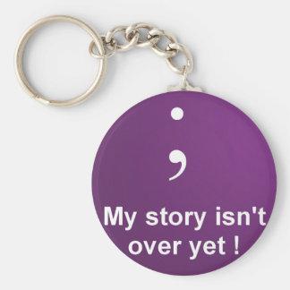 """Punto y coma - """"mi historia no está sobre todavía"""" llavero redondo tipo pin"""