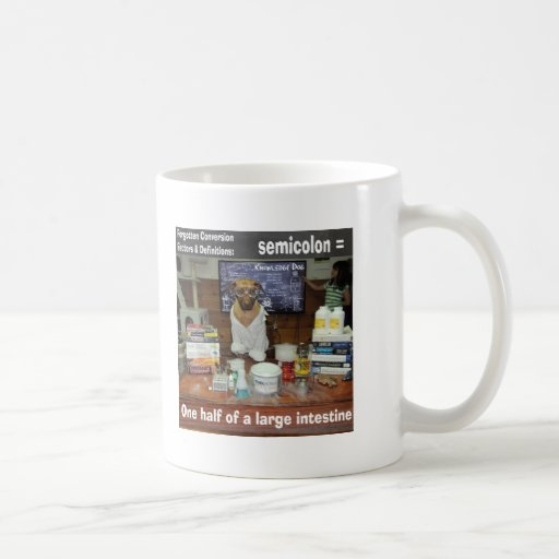 Punto y coma olvidado perro de las conversiones de taza de café