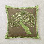 Puntos abstractos del verde del árbol almohadas