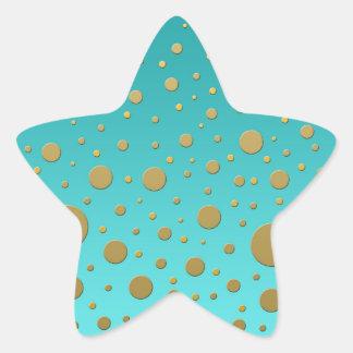 Puntos al azar del oro en modelo moderno de la pegatina en forma de estrella