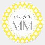 Puntos amarillos cones monograma - etiquetas de pegatinas redondas