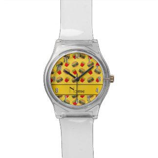 Puntos amarillos conocidos personalizados de las relojes de mano