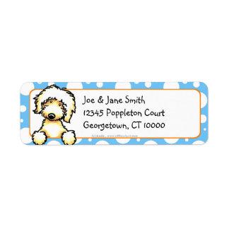 Puntos amarillos del azul de Labradoodle Etiquetas De Remite