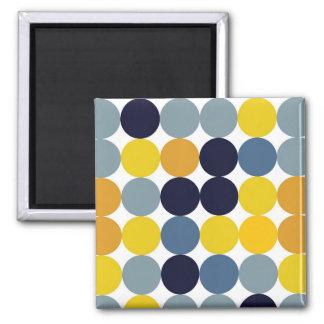 Puntos amarillos del azul y del añil imán cuadrado