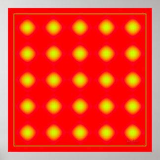 Puntos amarillos que oscilan póster