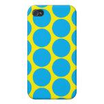 Puntos amarillos y azules iPhone 4 protectores