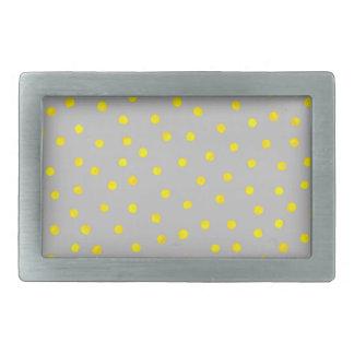 Puntos amarillos y grises del confeti hebillas de cinturón rectangulares