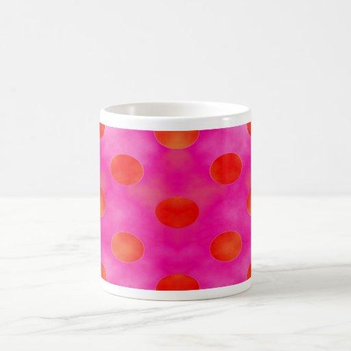 Puntos anaranjados y rosados tazas