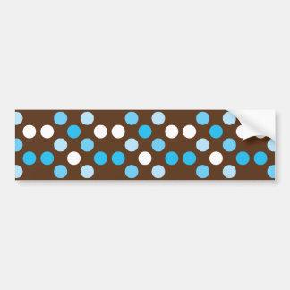 Puntos - azul con el fondo de Brown Pegatina De Parachoque