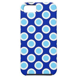 Puntos, azul de cobalto y blanco circundados funda para iPhone SE/5/5s