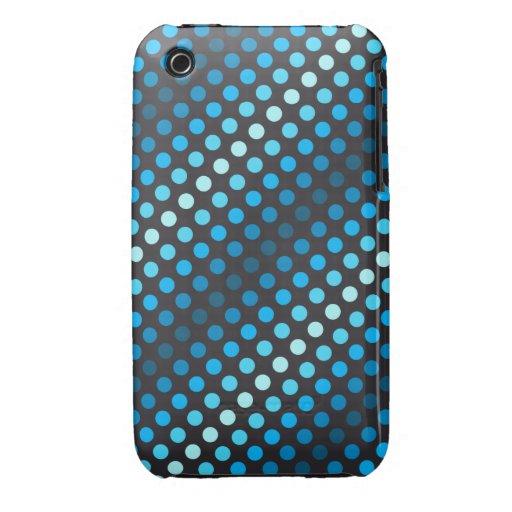 Puntos azules en un fondo negro iPhone 3 cobertura