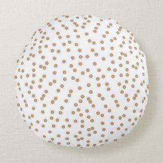 Puntos beige y blancos cremosos del confeti cojín redondo