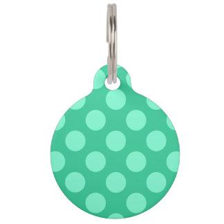 Puntos bilaterales del verde y del Aquamarine Placas Para Mascotas