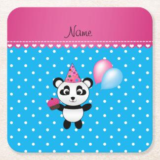 Puntos blancos azules de la panda conocida de posavasos personalizable cuadrado