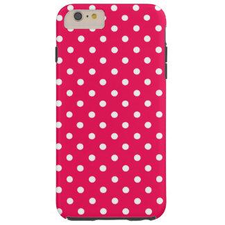 Puntos blancos en de color rosa oscuro funda de iPhone 6 plus tough
