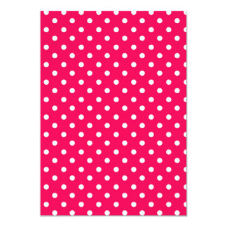 """Puntos blancos en de color rosa oscuro invitación 5"""" x 7"""""""