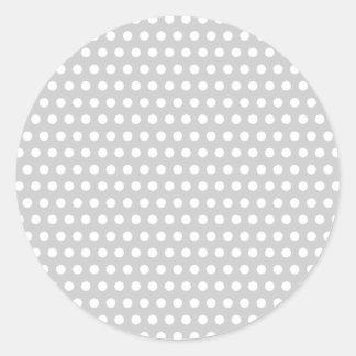Puntos blancos en gris claro etiquetas redondas