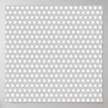 Puntos blancos en gris claro poster