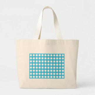 Puntos blancos en mediados de azul bolsa tela grande