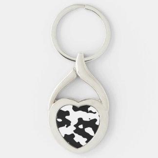 Puntos blancos y negros del modelo de la vaca llaveros