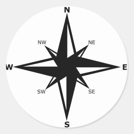 puntos cardinales pegatina redonda | Zazzle