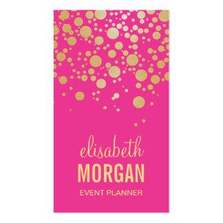 Puntos chispeantes del confeti del oro - rosa de tarjetas de visita