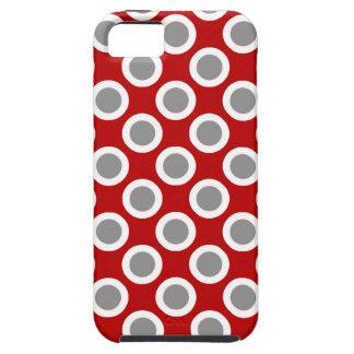 Puntos circundados retros, de color rojo oscuro y funda para iPhone SE/5/5s