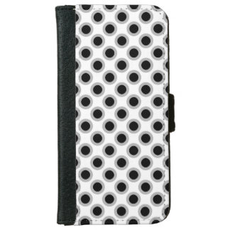 Puntos circundados retros, gris, blanco y negro funda cartera para iPhone 6