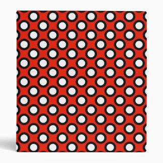 Puntos circundados retros, rojo, blanco y negro