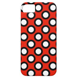 Puntos circundados retros, rojo, blanco y negro funda para iPhone SE/5/5s