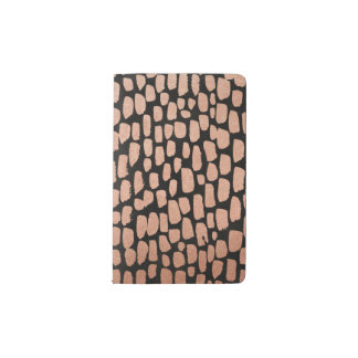 Puntos color de rosa del oro en el cuaderno negro funda para libreta y libreta pequeña moleskine