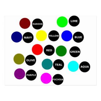 Puntos coloreados postales