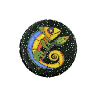 Puntos coloridos de la rama del lagarto de la dive frascos de caramelos