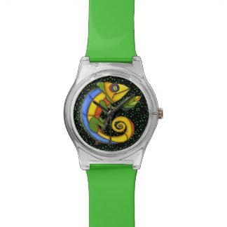 Puntos coloridos de la rama del lagarto de la dive relojes