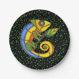Puntos coloridos de la rama del lagarto de la platos de papel