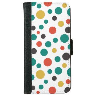 Puntos coloridos del arte del tamaño elegante funda cartera para iPhone 6