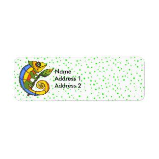 Puntos coloridos del verde de la rama del lagarto etiqueta de remite