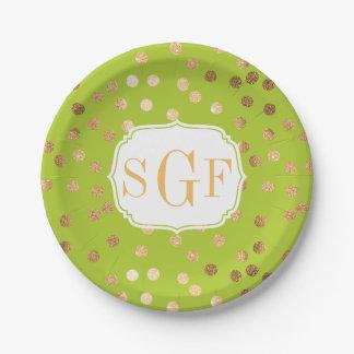 Puntos cones monograma del brillo de la verde lima plato de papel de 7 pulgadas